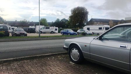Furrowfields car park, Chatteris, today (Fri) at 10am. It shows a number of travellers who had parke