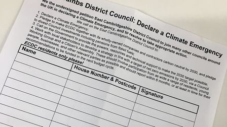 Community group Eco Ely who encouraging residents to sign the 'climate emergency' petition. Picture:
