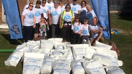 Smurfitt Kappa workers volunteered their services to Wimblington Street Pride for a litter pick. Pic