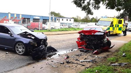 Two have been injured following a major car crash on the A1101 Wisbech Road near Littleport on Monda
