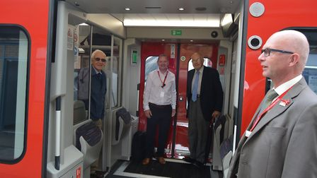 Greater Anglia's long-awaited new trains made a stop at Ely station as the Cambridge to Norwich serv