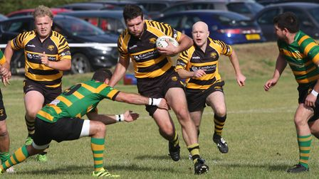 Full Time Ely Tigers 111 – 3 Crusaders.Mitch MacFarlane breaks out.. Picture: STEVE WELLS