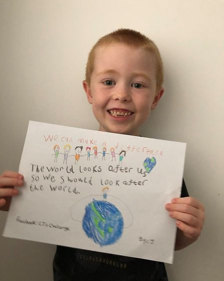 Six-year-old CJ Brandon from Sutton (pictured) hopes to raise awareness of climate change with his h
