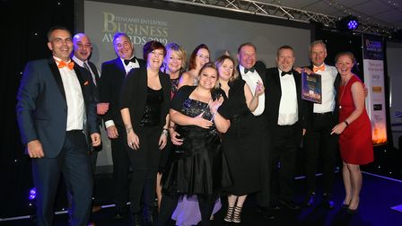 Fenland Enterprise Business Awards 2019. Company of the Year Fenland RP Ltd with host Sue Dougan. Pi