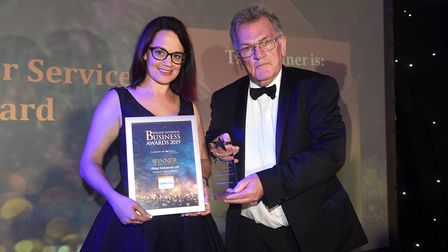 Fenland Business Awards 2019. Customer Service of the Year award winner Abtec Industries Ltd with Ca