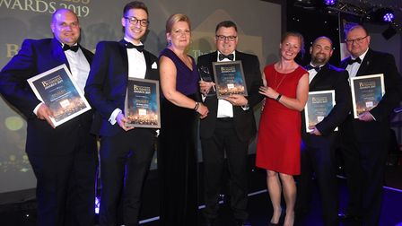 Fenland Business Awards 2019. Business Growth Award winner Volmary Ltd and finalists with host Sue D