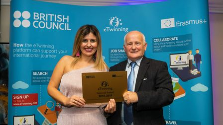 Esmeralda Salgado collecting the award. Kings Ely has scooped a British Council eTwinning Award for