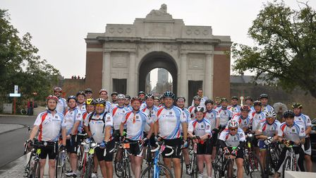 Dunmow Round Table cyclists at the Menin gate, Ypres in 2014