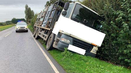 Two vehicles crashed on Gull Road, Guyhirn at the same time in unconnected incidents on Monday, Octo