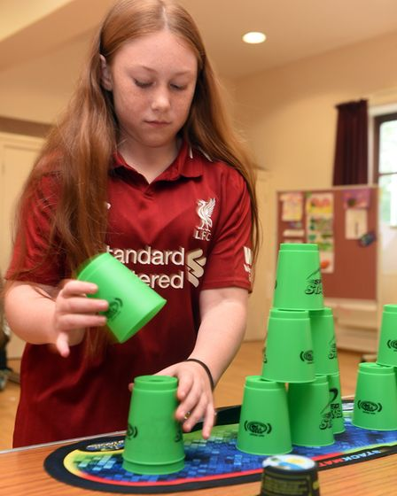 Pictured is Abi Wallwork. A sport speed stacking group has been formed in March and is actively seek