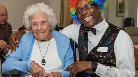 Entertainment co-ordinator Tony Grant with resident Margaret Jones, who will turn 106 on Saturday (O