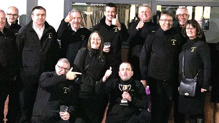 Littleport Brass with musical director Ian Knapton with trophy - and beer after the Bolsover Festiva