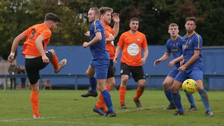 Callum Russell gets in a strike as Soham Town Rangers drew at Romford last Saturday. Picture: GAVIN
