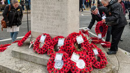 A Remembrance Sunday service in Great Dunmow. Picture: SAFFRON PHOTO