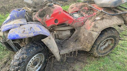 A suspected stolen quad bike which had been involved in anti-social riding was found dumped in a far