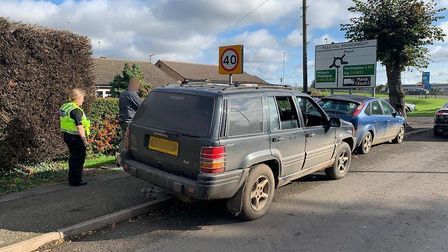 A group of suspected hare coursers have been dispersed from Cambridgeshire and had their Jeep seized
