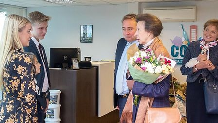 HRH The Princess Royal on a visit to Corkers Crisps at Little Downham. She stepped from the helicopt