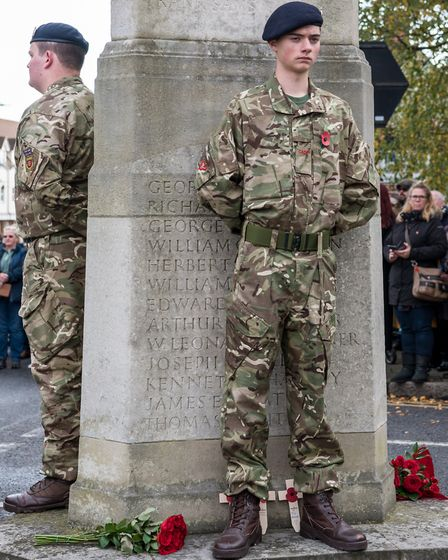A parade and memorial service was held in Dunmow on Remembrance Sunday. Picture: SAFFRON PHOTO