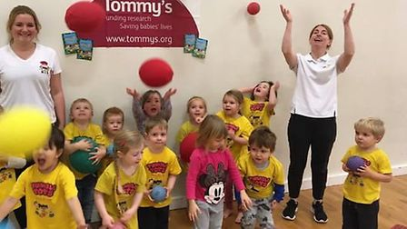 Children from Tumble Tots in Ely take on nationwide Tumblethon for Tommy's. Teachers and children fr