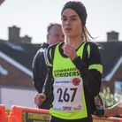Maddie Jordan-Lee, on her way to first place in the ladies' race at the Stowmarket Scenic Seven on S