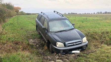 Hare coursers were stopped in their tracks after their 4x4 got trapped in a ditch on a Witchford fie