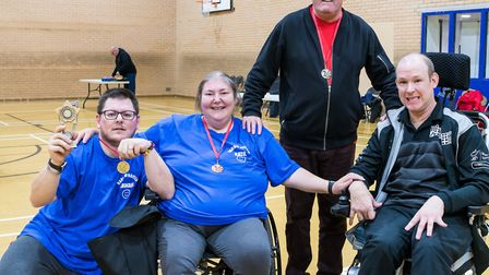 L-R: Medal winners Gowan Akers (gold), Katie Akers (bronze), Paddy Morrin (silver) with paralympian