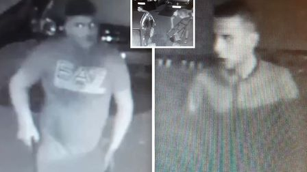Two men were caught on camera taking fishing equipment worth over 4,000 from a home in March. Pictur