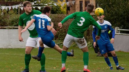 Player-coach Lloyd Groves left scored once at the wrong end and twice at the right end as Soham Town