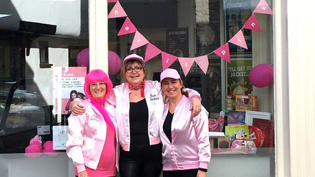 The Pink Ladies of Boswell and Son Bakery in Ely raised more than £500 for charity by taking a step
