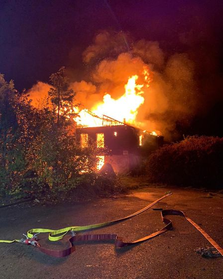 Fire crews from eight stations across Cambridgeshire worked through the night to tackle a major blaz