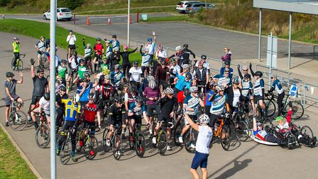 Cyclists ready to pedal a combined distance of 1000 miles at the Redbridge Cycling Centre for Blesma