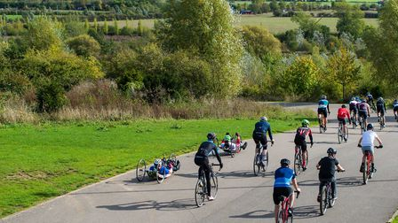 Cyclists covered a combined distance of 1000 miles at the Redbridge Cycling Centre for Blesma. Pictu