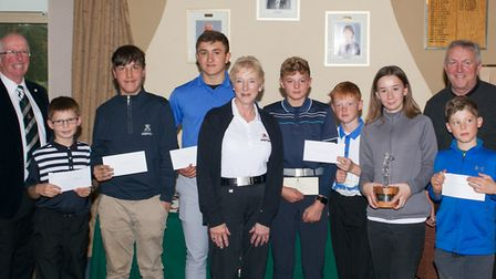 Sponsor Terry Hawkins (far left), Christine Ratcliffe (Ely City GC management committee chairperson)