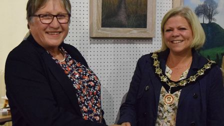 Art exhibition organiser Maureen Best with Councillor Emma Marcus, mayor of Great Dunmow, at St. Mar