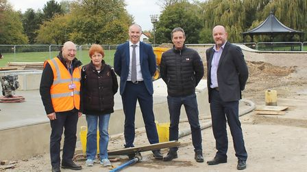 Checking out progress on the new skate park are, from left, Cllr Peter Murphy, FDC's Portfolio Holde