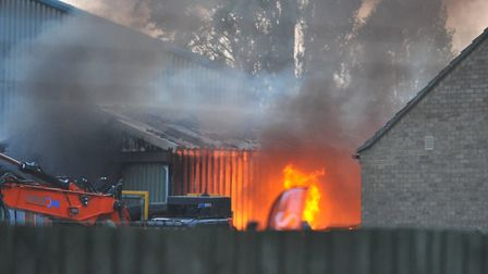 The fire at Force One Ltd's March building on Longhill Road. Picture: Harry Rutter/ARCHANT
