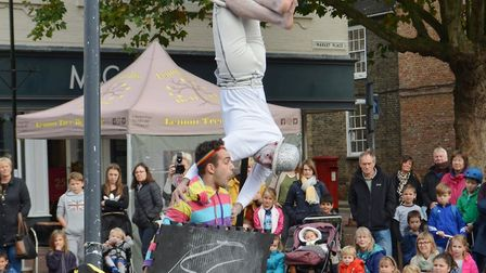 Dance company 2Faced bring 'breathtaking mess and mayhem' to Ely Market Place. Picture: MIKE ROUSE