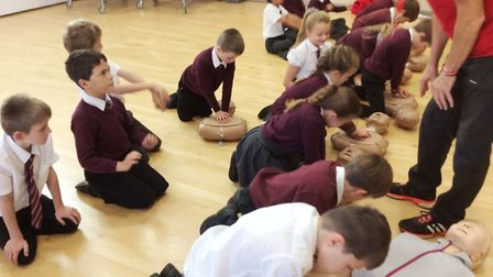 Children learn life-saving CPR at Ely primary school. Picture: ISLE OF ELY PRIMARY