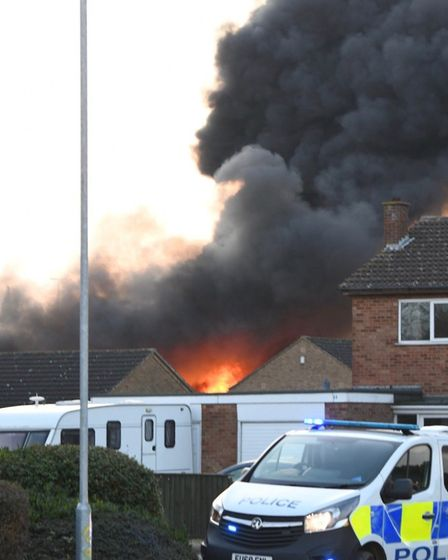 Dramatic scenes from a fire at the Longhill Road industrial estate, March, Police have evacuated a s