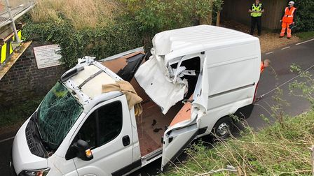 Lucky escape as this van hit the rail bridge at Stonea on October 15th just after 8am. Picture; SUBM
