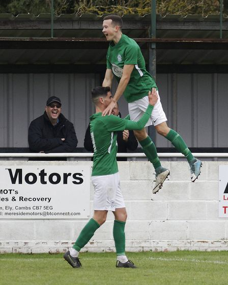 Soham's Tom Newman is congratulated by Matt Allan after the opening goal against Bury Town (pic Paul