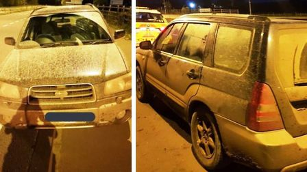 Police tweeted these photos of a car they seized at Waterbeach belonging to suspected hare coursers.