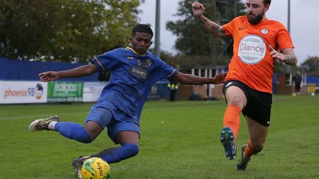 Ryan Auger (right) opened the scoring as Soham Town Rangers were knocked out of the FA Trophy at Hay