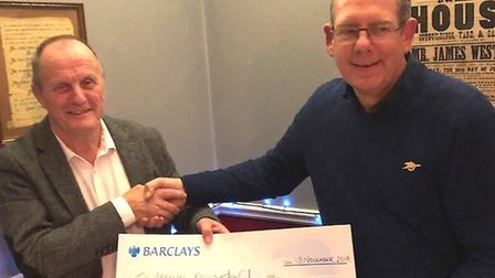 £3,685 raised in memory of Soham Town Rangers chairman Stuart Hamilton at charity day is donated to