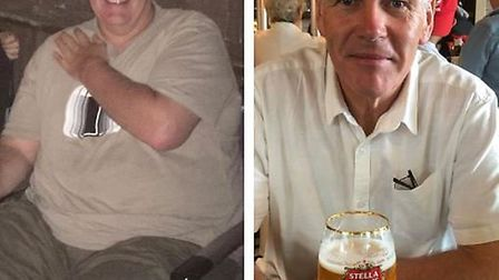 Before and after: David Manson lost more than nine stone after his brothers died from bowel cancer.