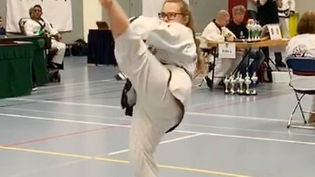 Sophia Stanton - 1st in weapons, 1st in forms and 1st in sparring. Picture: Donna Harvey