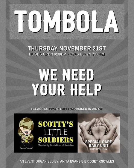 A charity tombola night in aid of Scotty's Little Soldiers and the Huntingdon Special Care Baby Unit