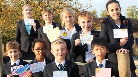 Students' postcards bring smiles to the elderly from King's Ely. Picture: JORDAN DAY