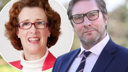Former Brexit Party candidate for SE Cambs Vivienne Robinson (left) claims Mayor James Palmer (right