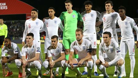 Nick Pope (back row, third left) with the England team ahead of their triumph against Kosovo. Pictur